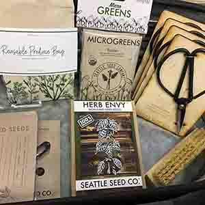 Seattle Seed Company seeds, clippers, bags and brushes